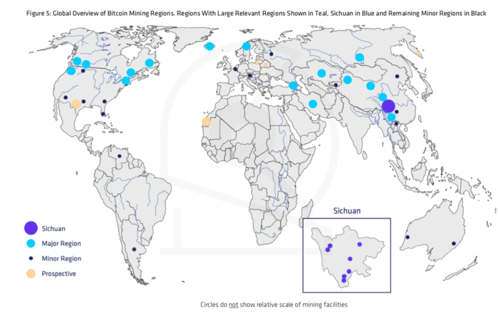 CoinShares Research map of Bitcoin mining regions